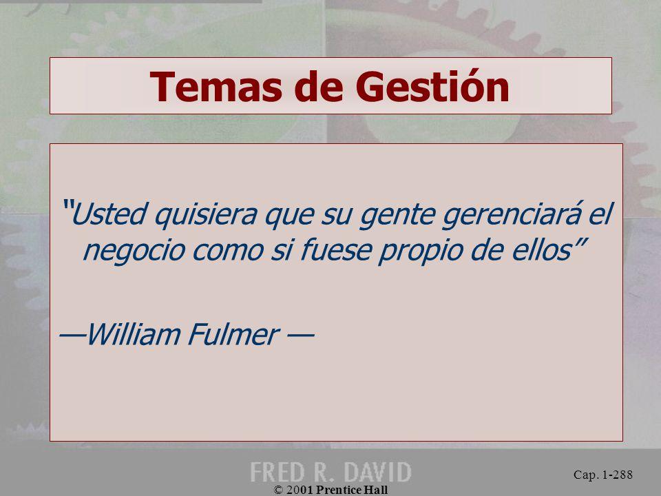 Temas de Gestión Usted quisiera que su gente gerenciará el negocio como si fuese propio de ellos —William Fulmer —