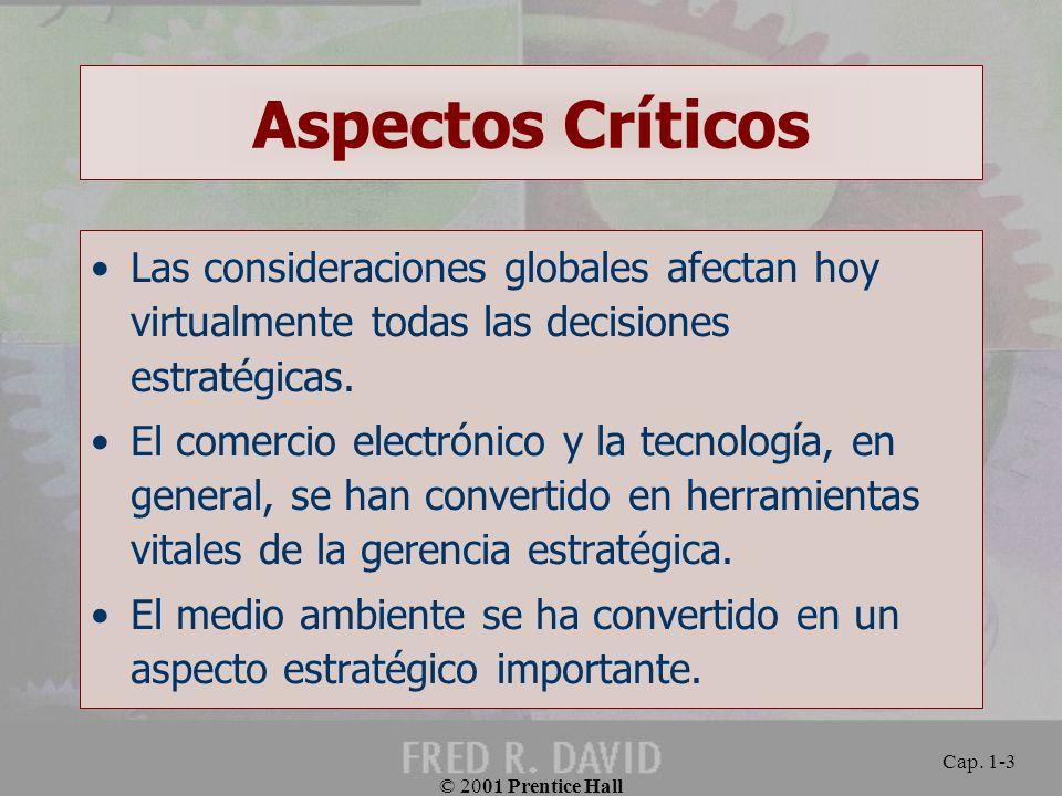 Aspectos Críticos Las consideraciones globales afectan hoy virtualmente todas las decisiones estratégicas.