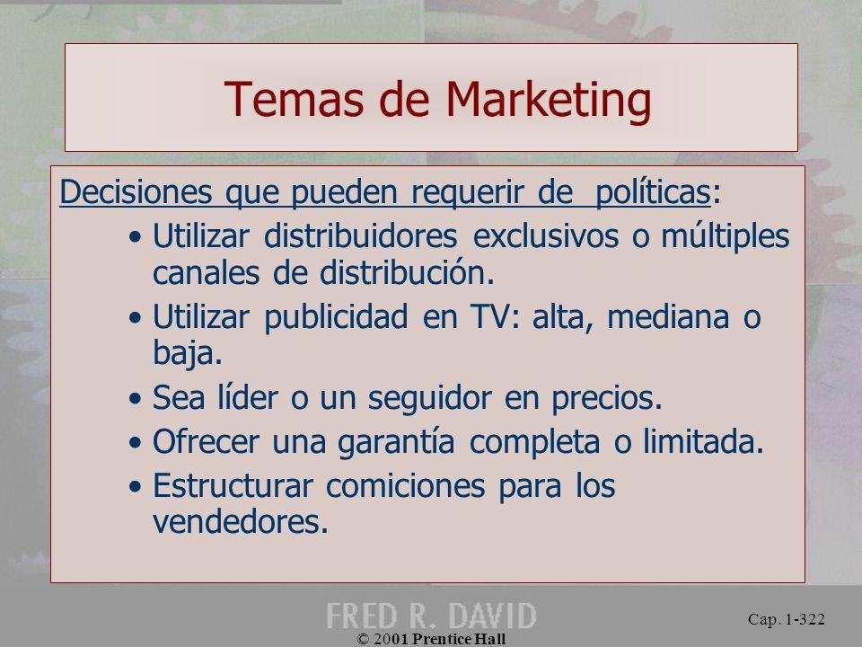 Temas de Marketing Decisiones que pueden requerir de políticas: