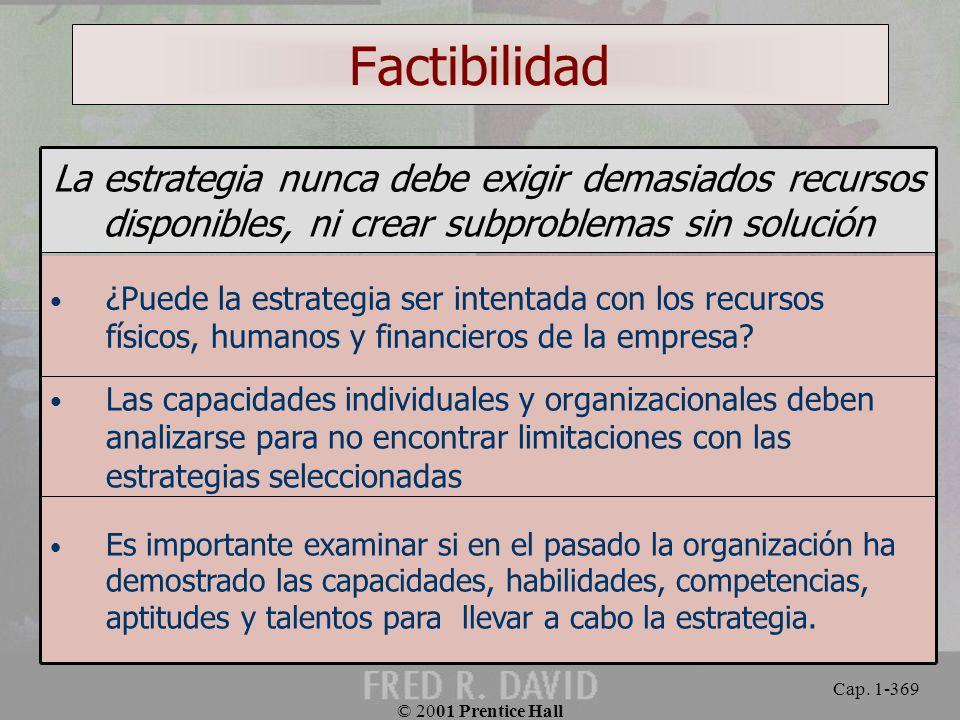 Factibilidad La estrategia nunca debe exigir demasiados recursos disponibles, ni crear subproblemas sin solución.