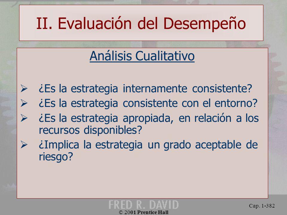 II. Evaluación del Desempeño