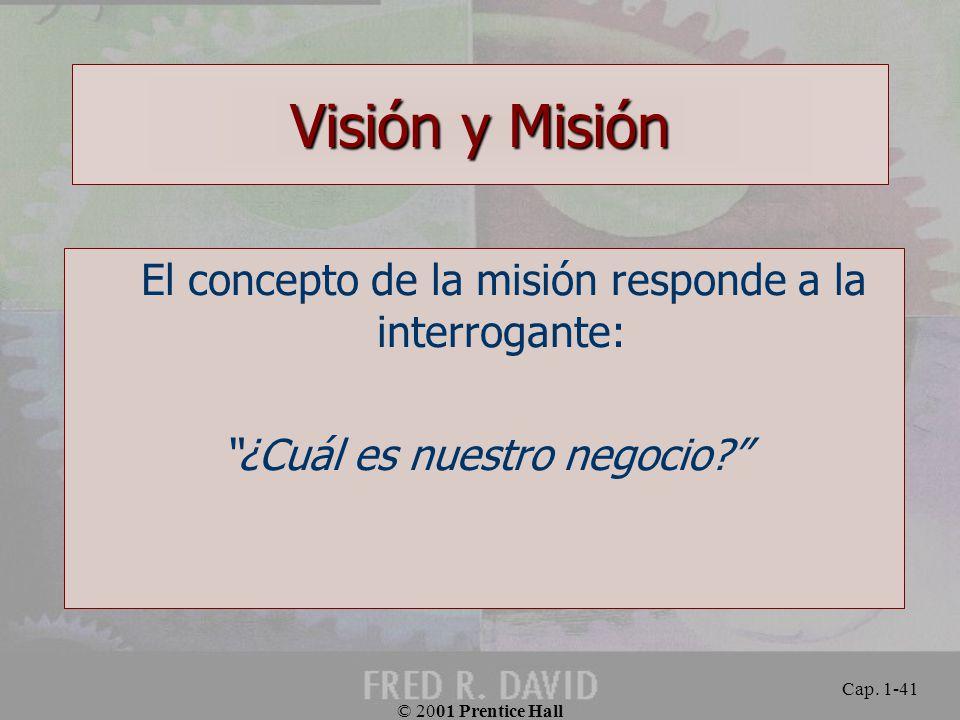 Visión y Misión El concepto de la misión responde a la interrogante: