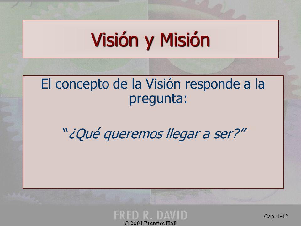 Visión y Misión El concepto de la Visión responde a la pregunta: