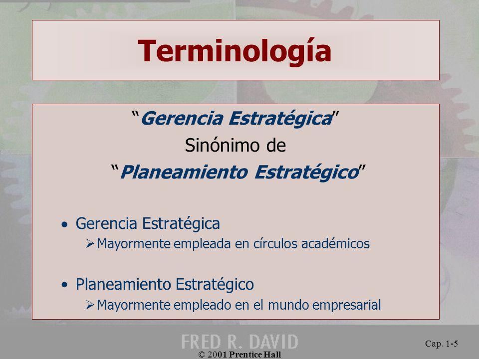 Terminología Gerencia Estratégica Sinónimo de