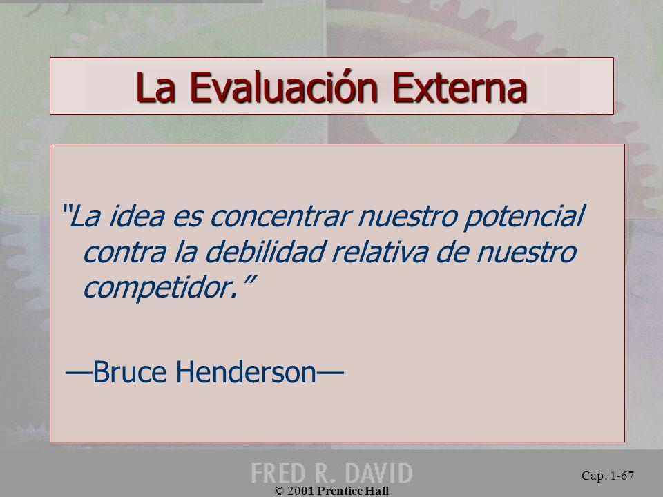 La Evaluación Externa La idea es concentrar nuestro potencial contra la debilidad relativa de nuestro competidor.