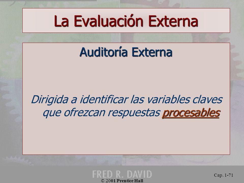 La Evaluación Externa Auditoría Externa