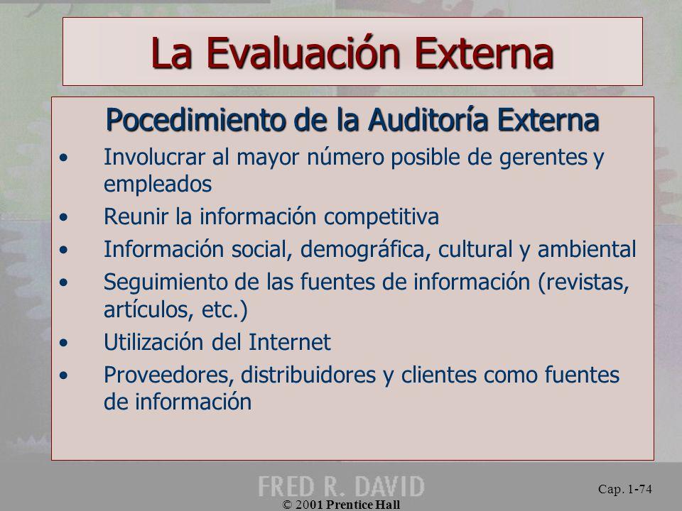 Pocedimiento de la Auditoría Externa