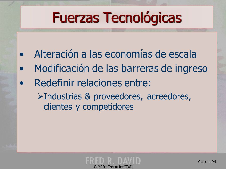 Fuerzas Tecnológicas Alteración a las economías de escala