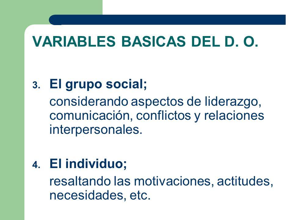 VARIABLES BASICAS DEL D. O.