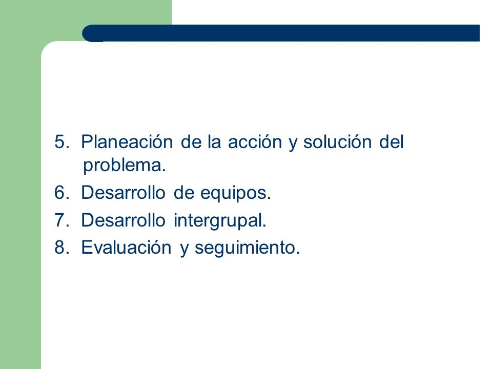 5. Planeación de la acción y solución del problema.