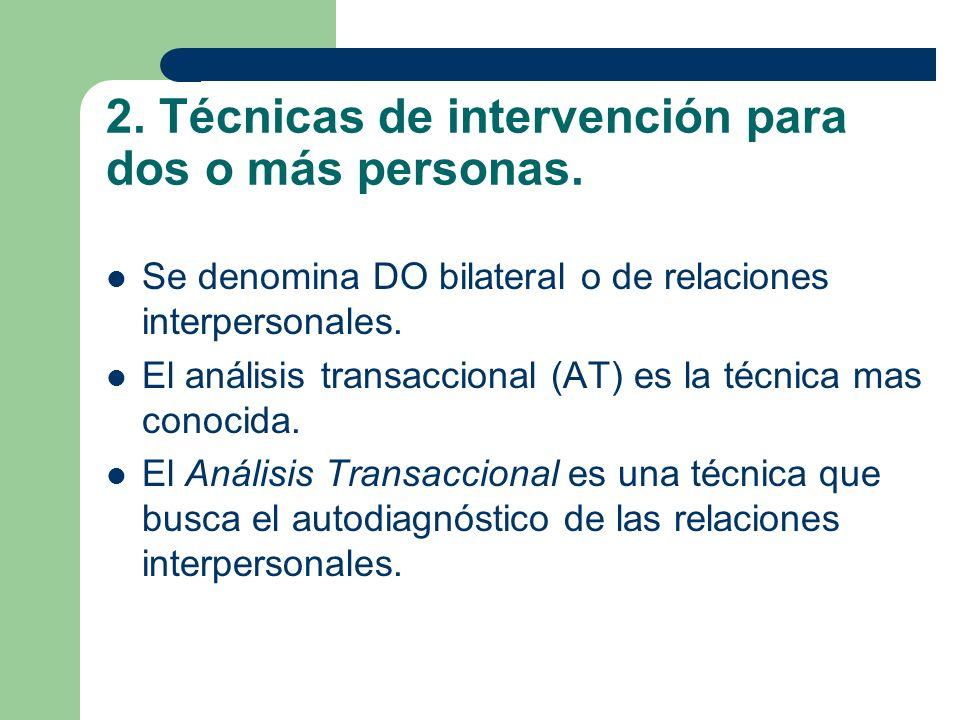 2. Técnicas de intervención para dos o más personas.