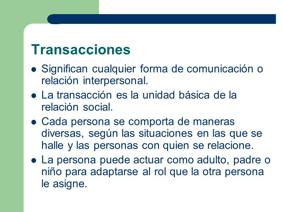 Transacciones Significan cualquier forma de comunicación o relación interpersonal. La transacción es la unidad básica de la relación social.