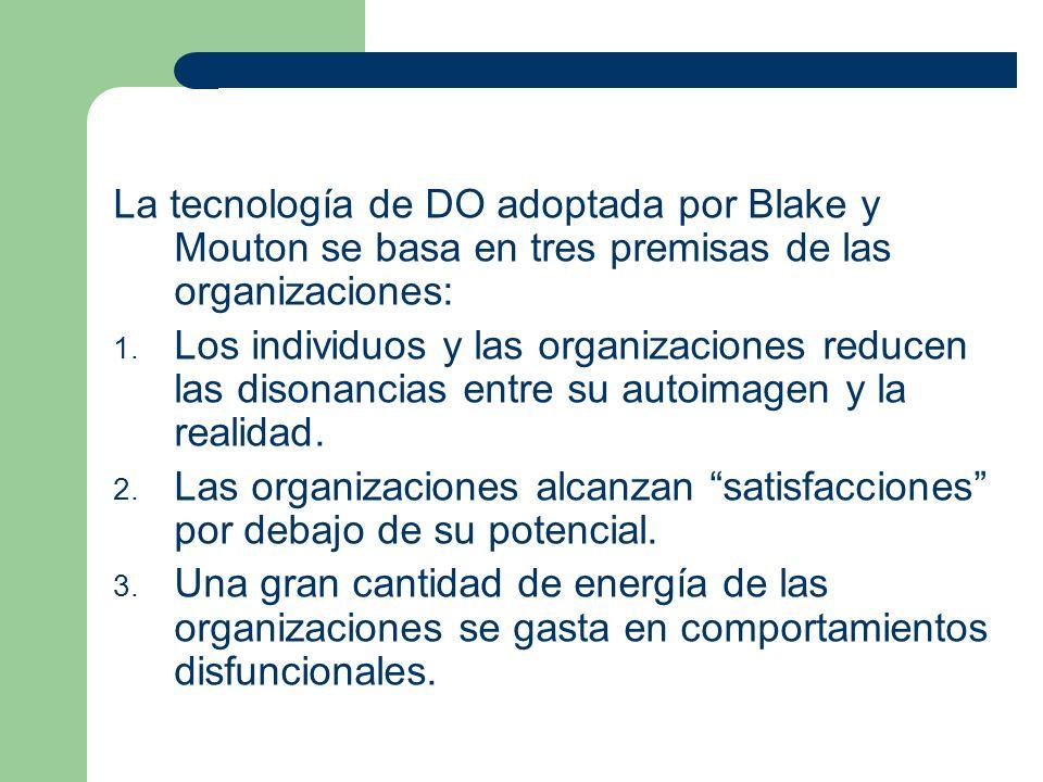 La tecnología de DO adoptada por Blake y Mouton se basa en tres premisas de las organizaciones: