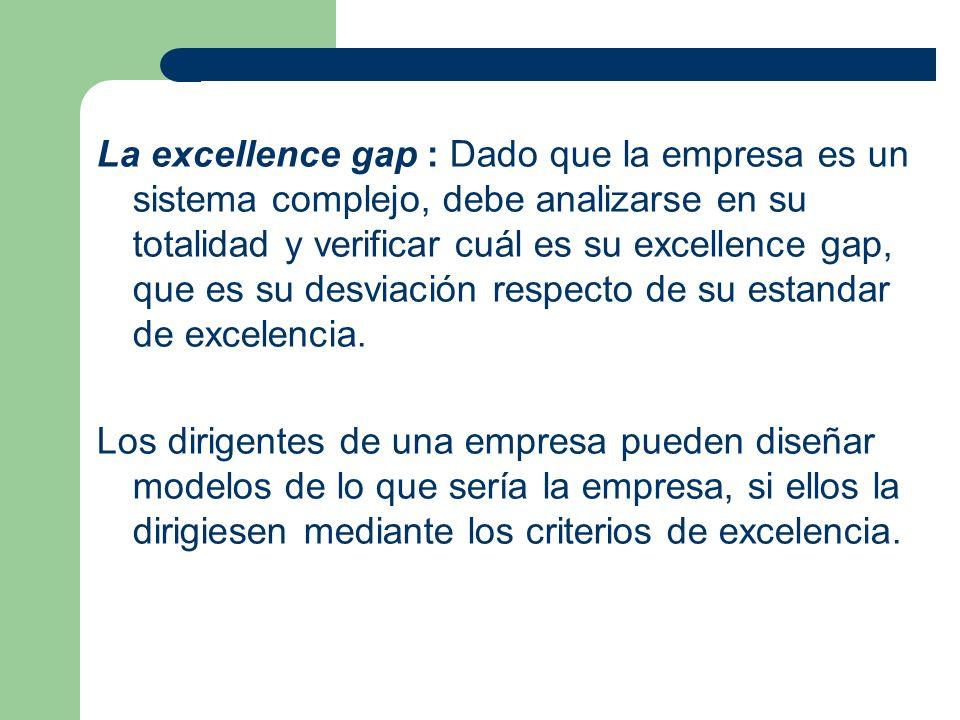 La excellence gap : Dado que la empresa es un sistema complejo, debe analizarse en su totalidad y verificar cuál es su excellence gap, que es su desviación respecto de su estandar de excelencia.