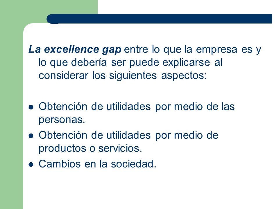 La excellence gap entre lo que la empresa es y lo que debería ser puede explicarse al considerar los siguientes aspectos: