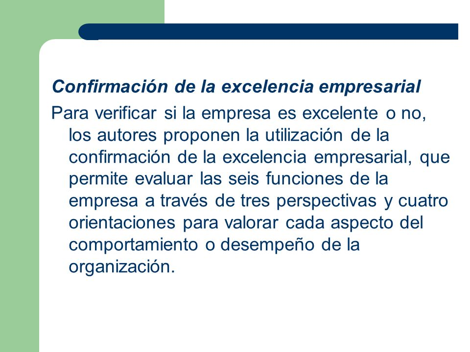 Confirmación de la excelencia empresarial