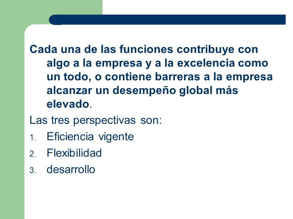 Cada una de las funciones contribuye con algo a la empresa y a la excelencia como un todo, o contiene barreras a la empresa alcanzar un desempeño global más elevado.
