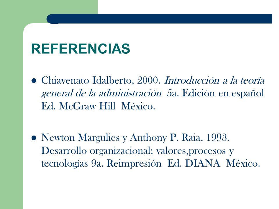 REFERENCIAS Chiavenato Idalberto, 2000. Introducción a la teoría general de la administración 5a. Edición en español Ed. McGraw Hill México.