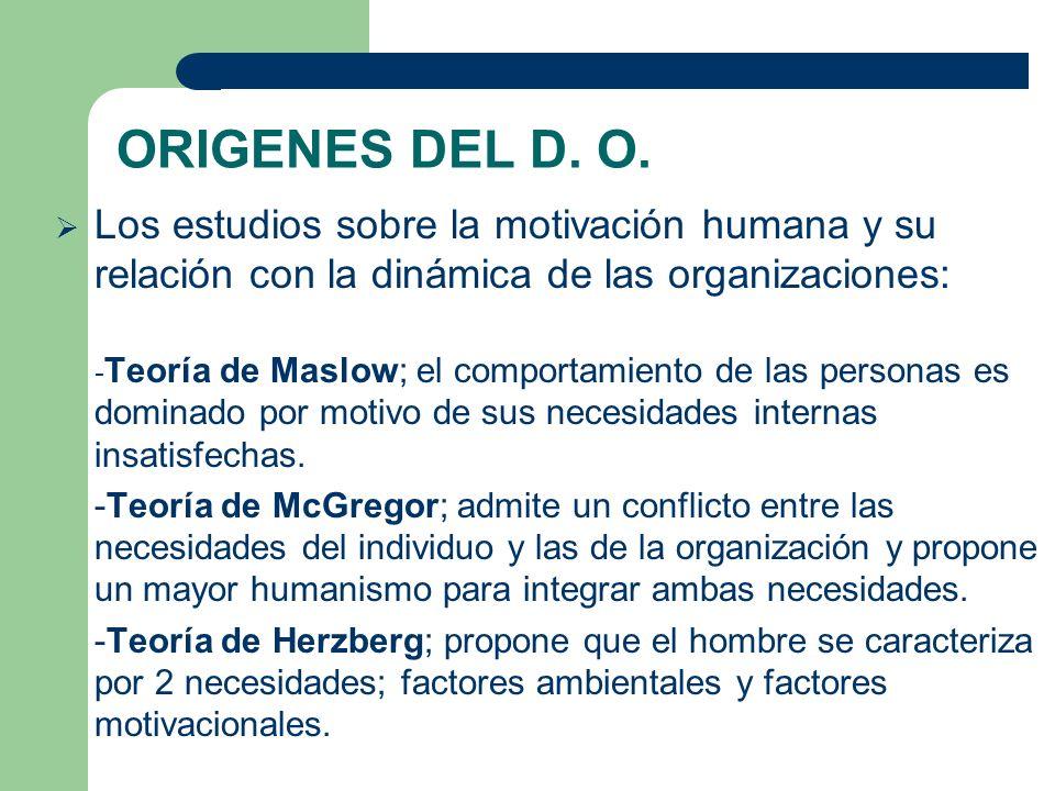 ORIGENES DEL D. O. Los estudios sobre la motivación humana y su relación con la dinámica de las organizaciones: