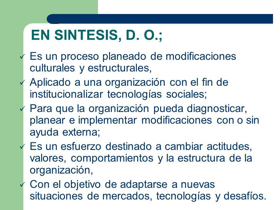EN SINTESIS, D. O.; Es un proceso planeado de modificaciones culturales y estructurales,
