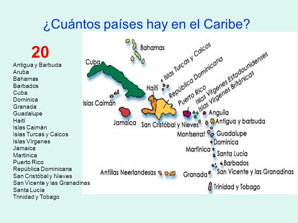 ¿Cuántos países hay en el Caribe