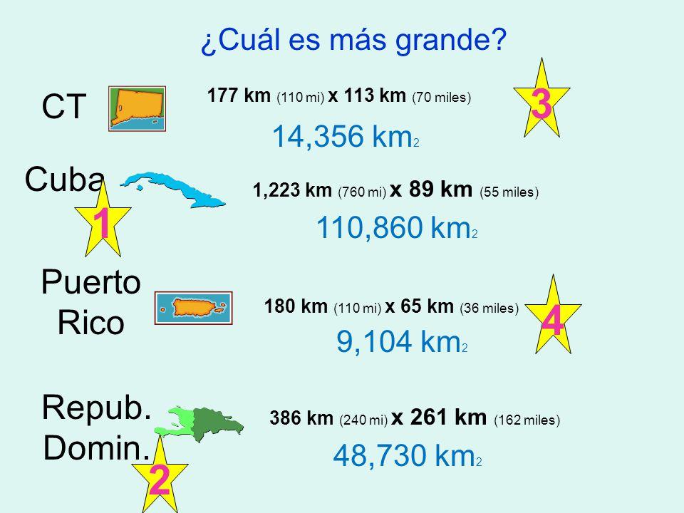 3 1 4 2 CT Cuba Puerto Rico Repub. Domin. ¿Cuál es más grande