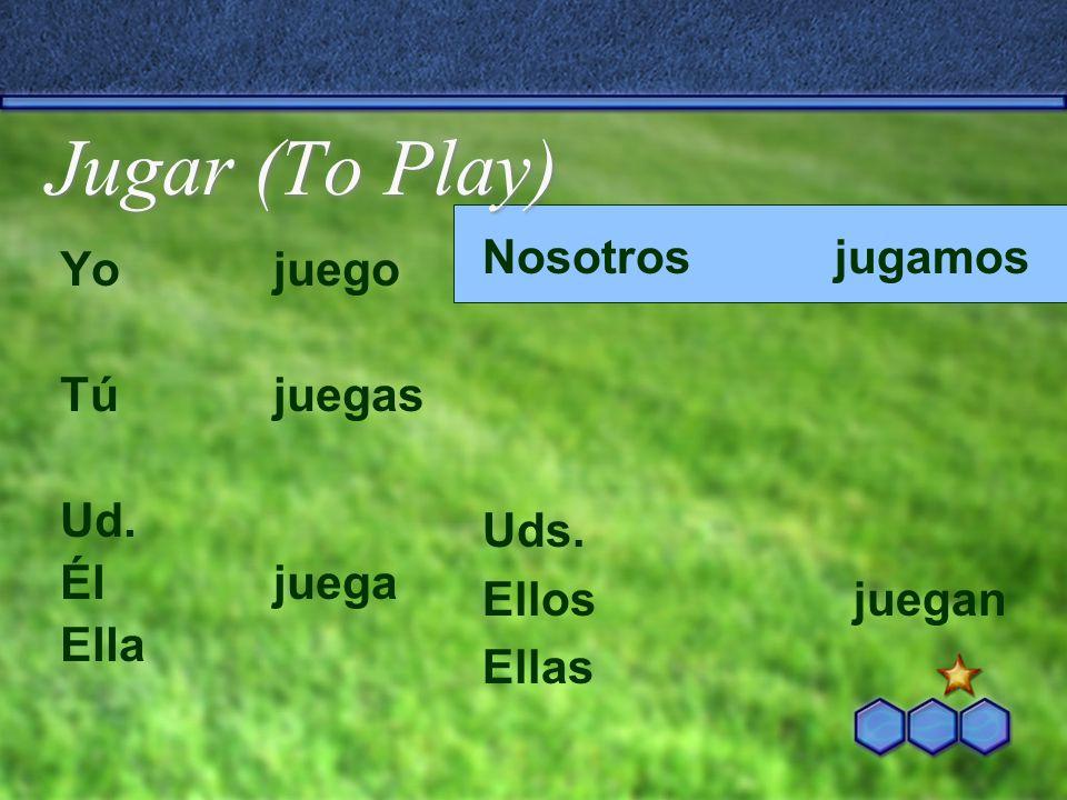Jugar (To Play) Nosotros jugamos Yo juego Tú juegas Uds. Ud.