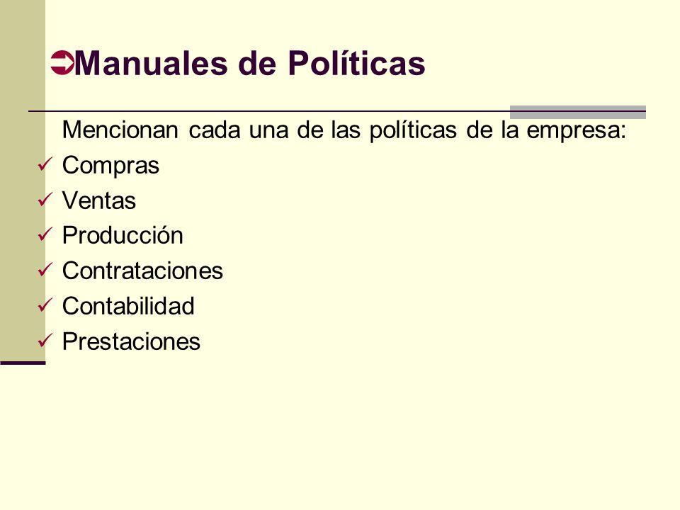 Manuales de Políticas Mencionan cada una de las políticas de la empresa: Compras. Ventas. Producción.