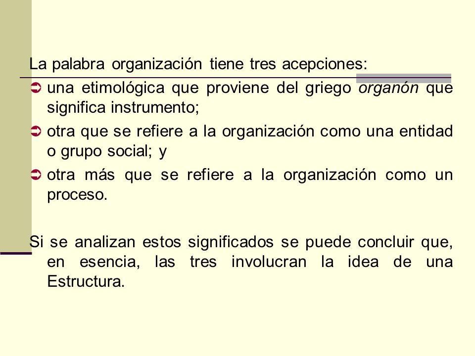 La palabra organización tiene tres acepciones:
