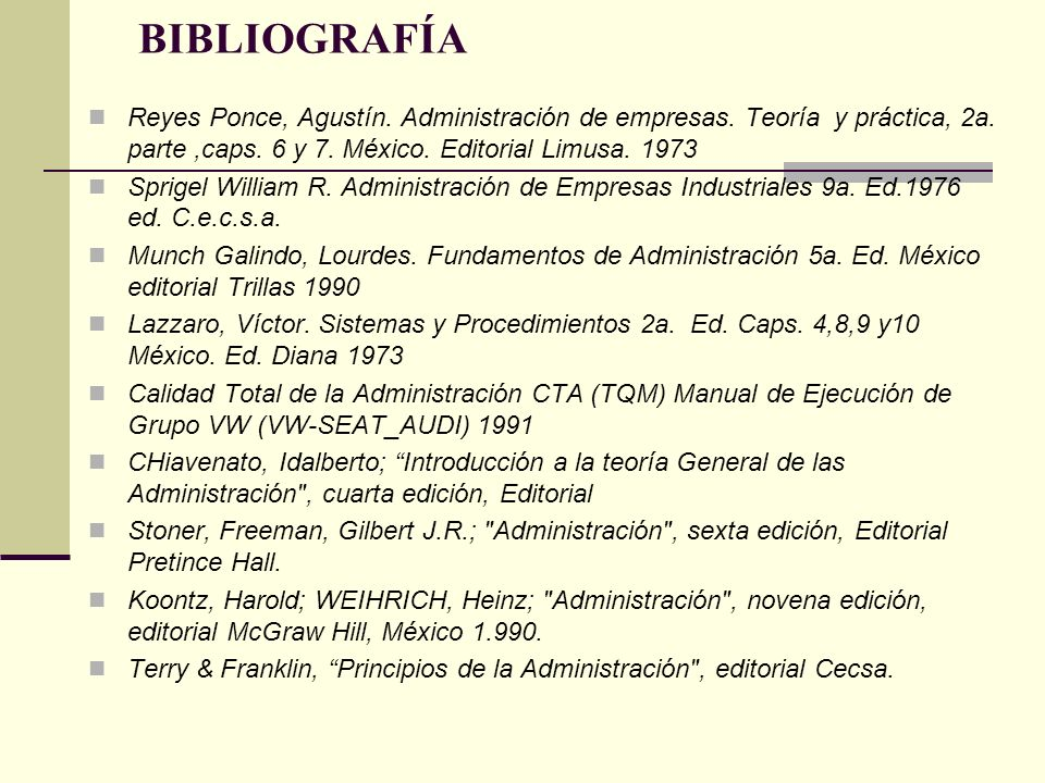 BIBLIOGRAFÍA Reyes Ponce, Agustín. Administración de empresas. Teoría y práctica, 2a. parte ,caps. 6 y 7. México. Editorial Limusa. 1973.