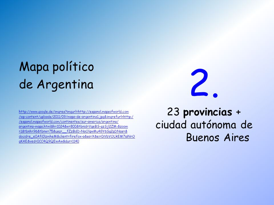 2. Mapa político de Argentina 23 provincias + ciudad autónoma de