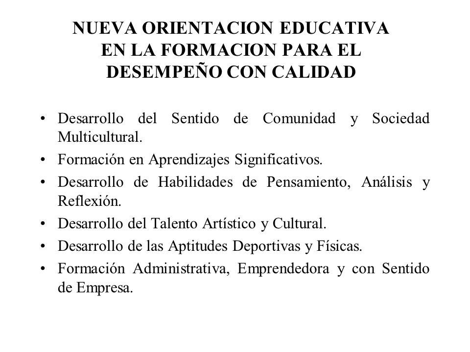NUEVA ORIENTACION EDUCATIVA EN LA FORMACION PARA EL DESEMPEÑO CON CALIDAD