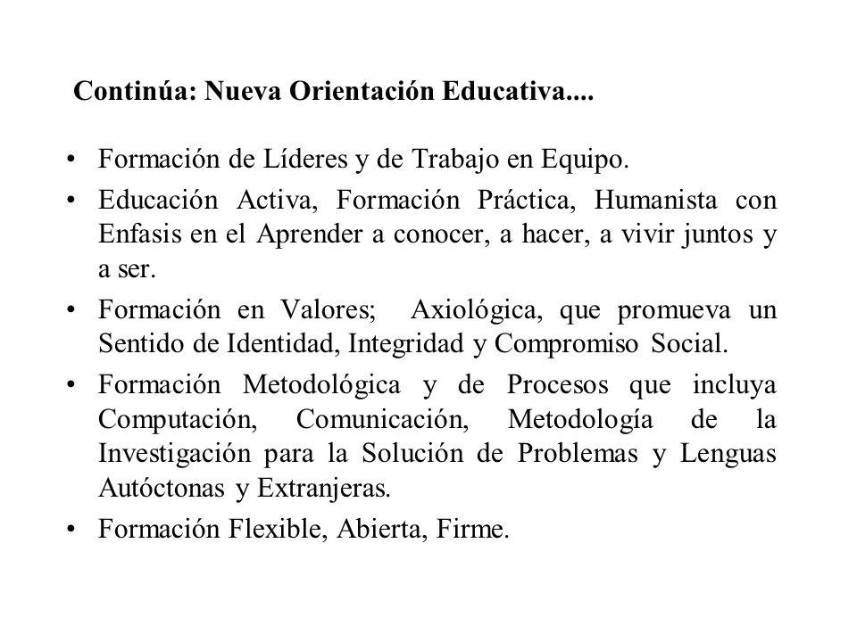 Continúa: Nueva Orientación Educativa....