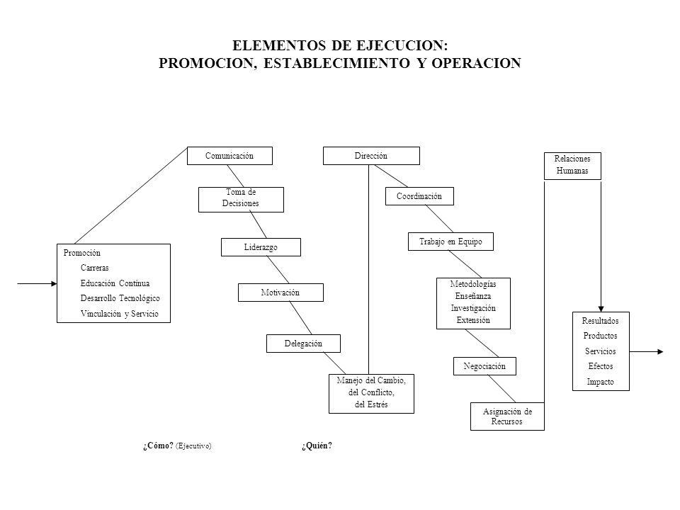 ELEMENTOS DE EJECUCION: PROMOCION, ESTABLECIMIENTO Y OPERACION