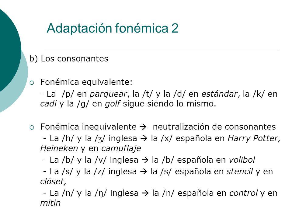 Adaptación fonémica 2 b) Los consonantes Fonémica equivalente: