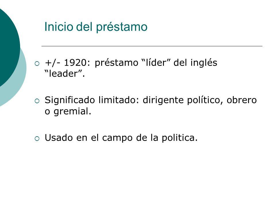 Inicio del préstamo +/- 1920: préstamo líder del inglés leader .