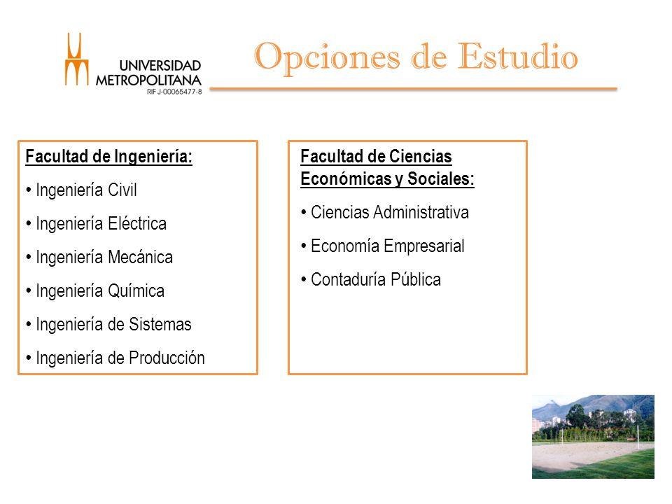 Opciones de Estudio Facultad de Ingeniería: Ingeniería Civil
