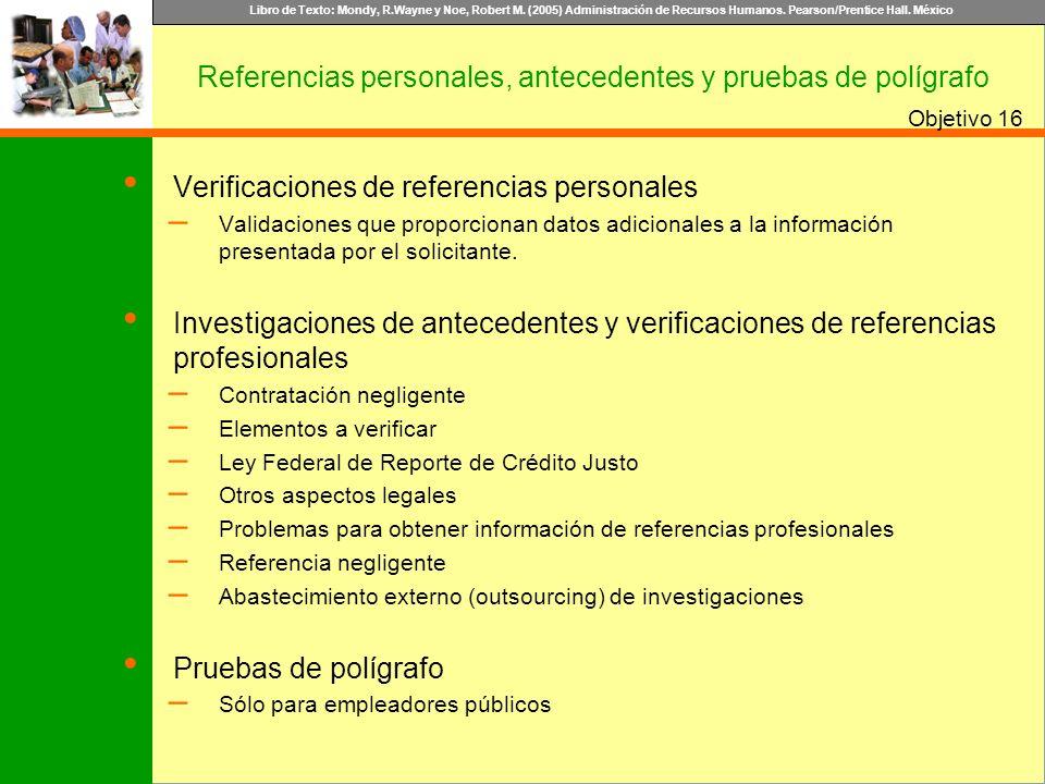 Referencias personales, antecedentes y pruebas de polígrafo