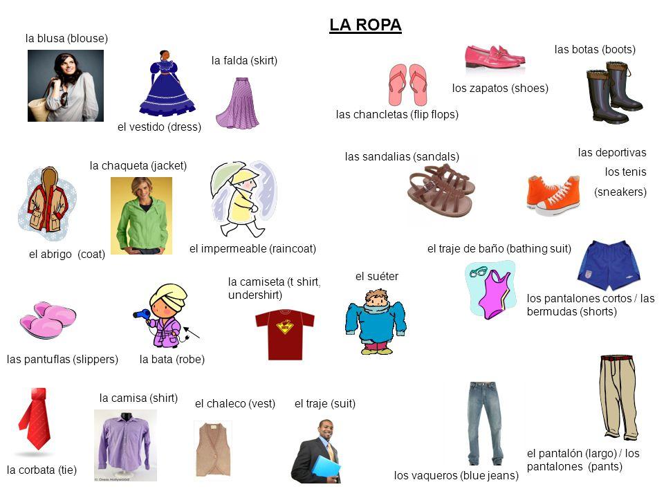 LA ROPA la blusa (blouse) las botas (boots) la falda (skirt)