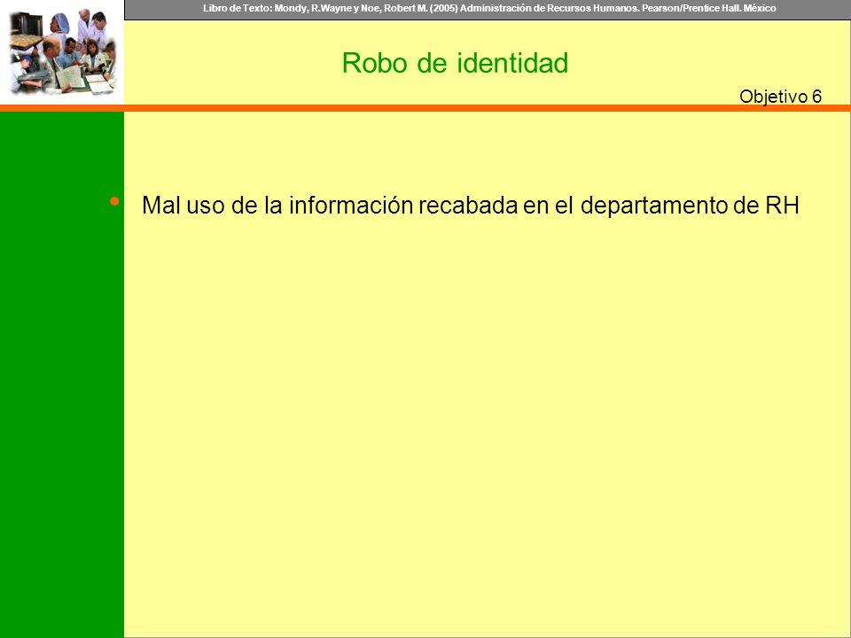 Robo de identidad 6 Mal uso de la información recabada en el departamento de RH