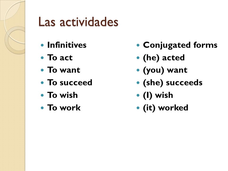 Las actividades Infinitives To act To want To succeed To wish To work