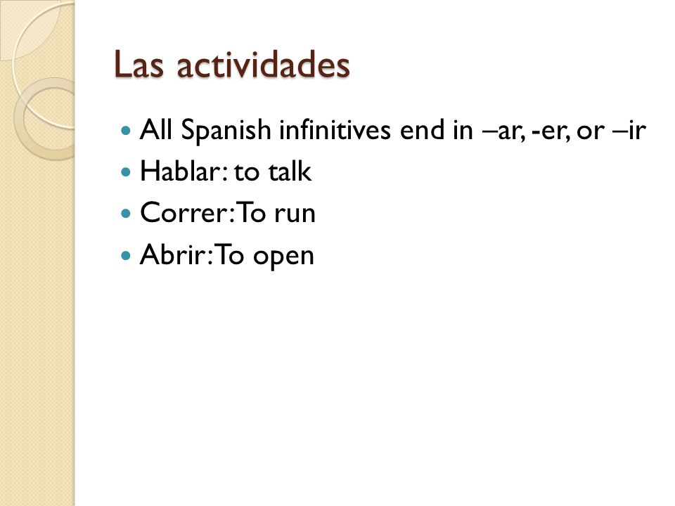 Las actividades All Spanish infinitives end in –ar, -er, or –ir