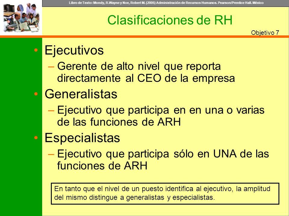 Clasificaciones de RH Ejecutivos Generalistas Especialistas