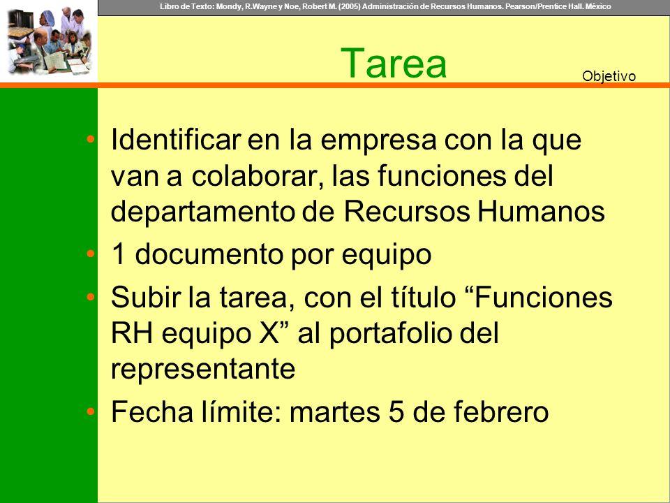 Tarea Identificar en la empresa con la que van a colaborar, las funciones del departamento de Recursos Humanos.