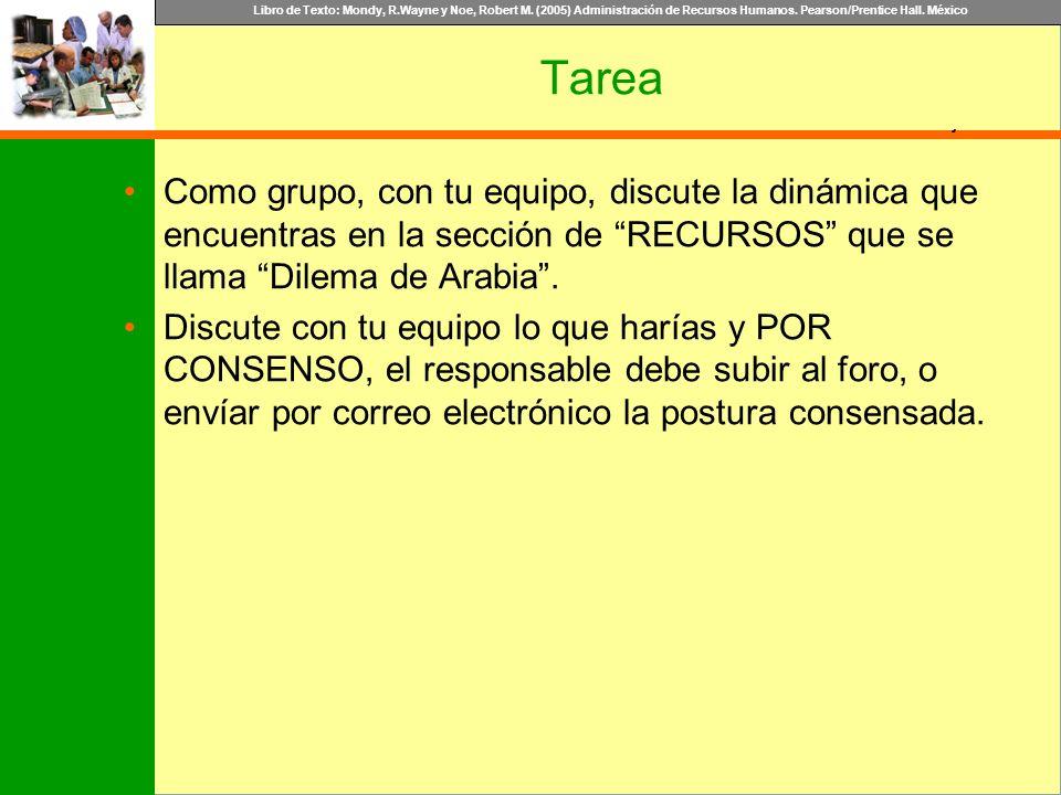Tarea Como grupo, con tu equipo, discute la dinámica que encuentras en la sección de RECURSOS que se llama Dilema de Arabia .