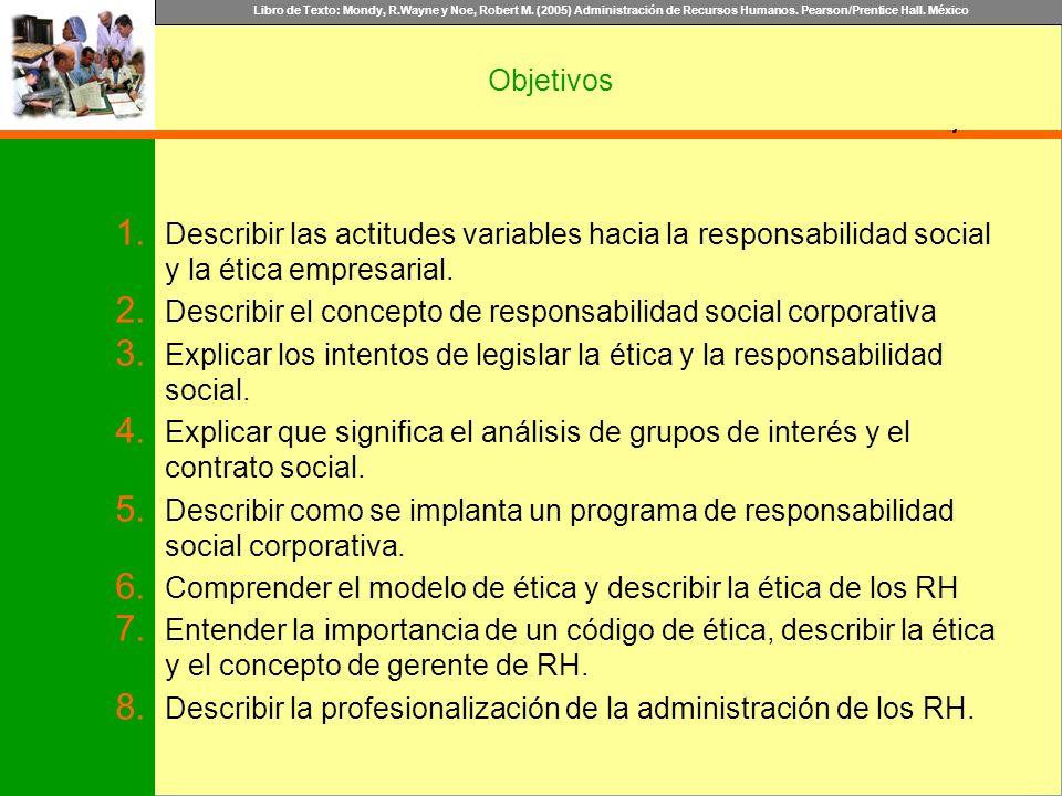 Objetivos Describir las actitudes variables hacia la responsabilidad social y la ética empresarial.