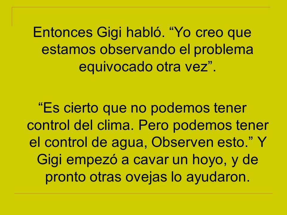Entonces Gigi habló. Yo creo que estamos observando el problema equivocado otra vez .