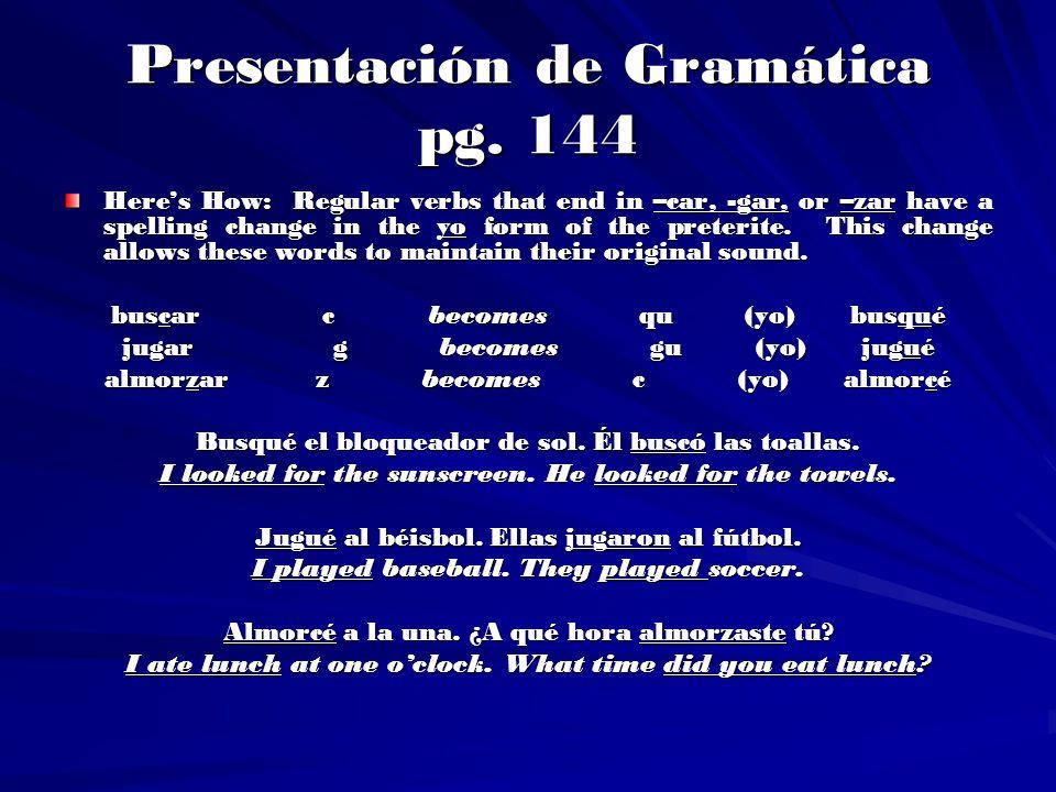 Presentación de Gramática pg. 144