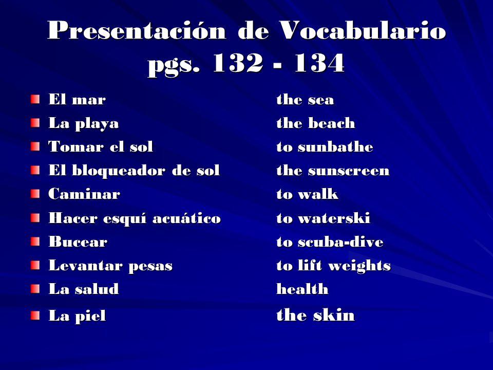 Presentación de Vocabulario pgs. 132 - 134