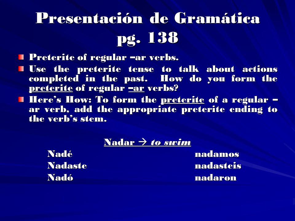 Presentación de Gramática pg. 138